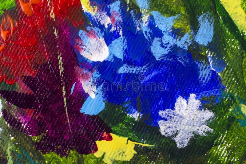 Flor do close-up da pintura a óleo Macro grande do close up das flores na lona Impressionismo moderno Arte finala de Impasto imagem de stock royalty free