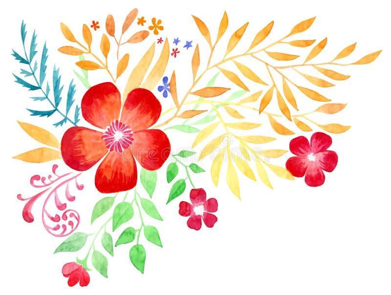 Flor do desenho da mão da aquarela ilustração royalty free