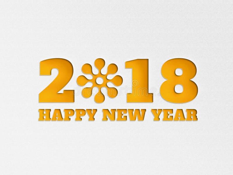 A flor 2018 do fundo da bandeira do papel de parede do ano novo feliz com papel cortou o efeito na cor amarela imagens de stock