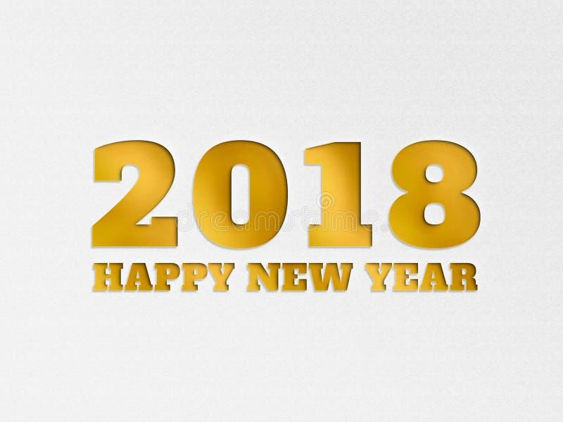 A flor 2018 do fundo da bandeira do papel de parede do ano novo feliz com papel cortou o efeito na cor do ouro fotografia de stock royalty free