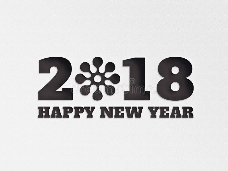 A flor 2018 do fundo da bandeira do papel de parede do ano novo feliz com papel cortou o efeito na cor preta foto de stock royalty free