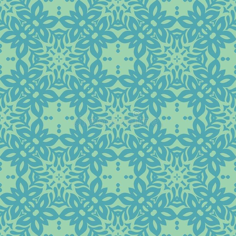A flor do lírio arredondou o fundo sem emenda do teste padrão no tom do verde azul ilustração do vetor