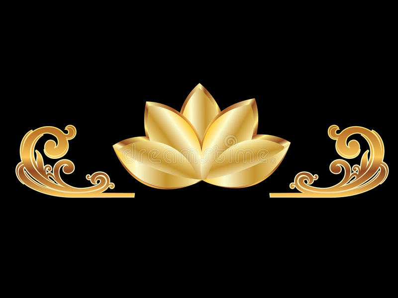 Flor do ouro dos lótus ilustração royalty free
