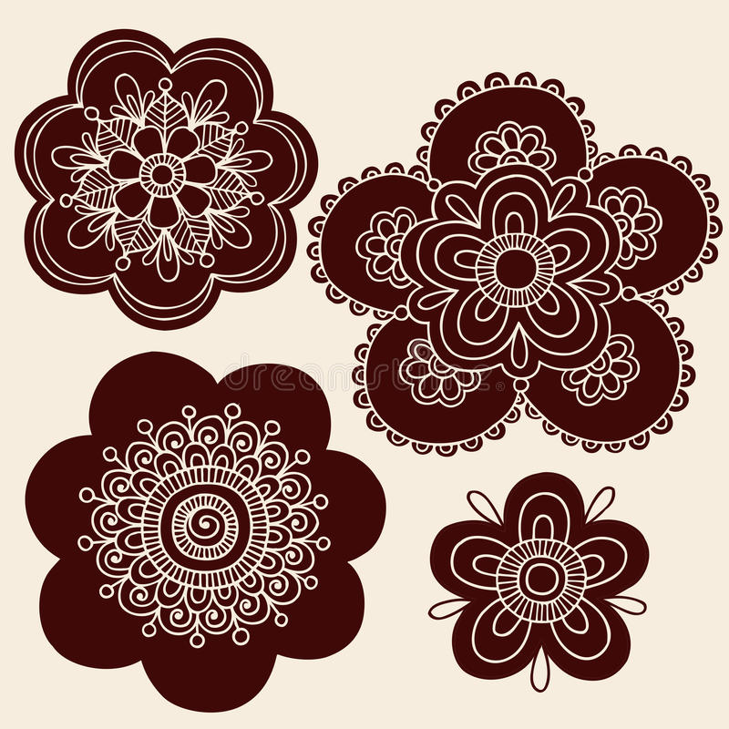 A flor do tatuagem de Mehndi do Henna mostra em silhueta o vetor ilustração do vetor