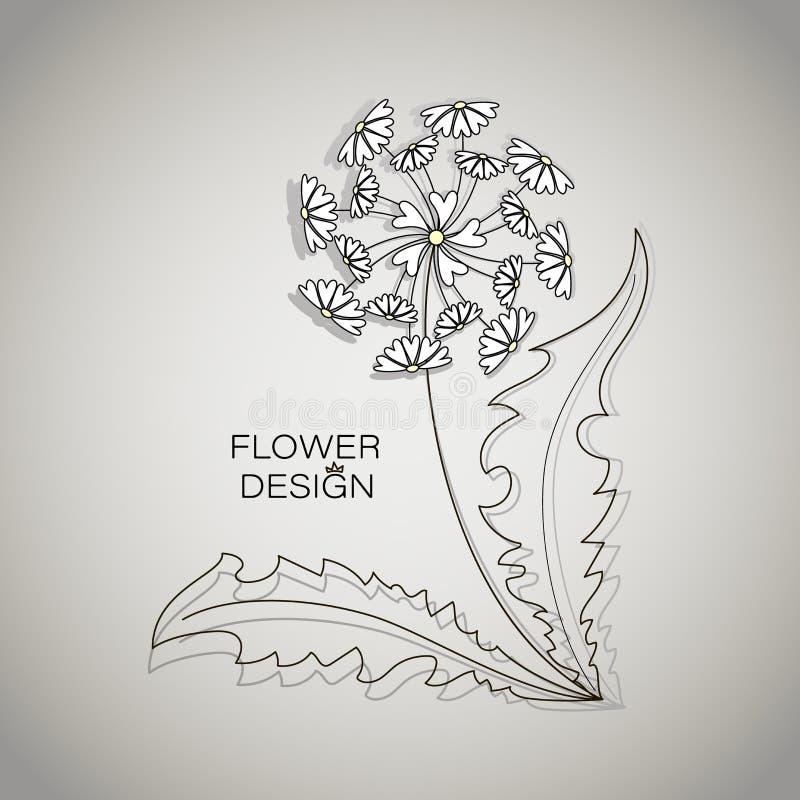 Flor do verão Um dente-de-leão dos corações ilustração stock