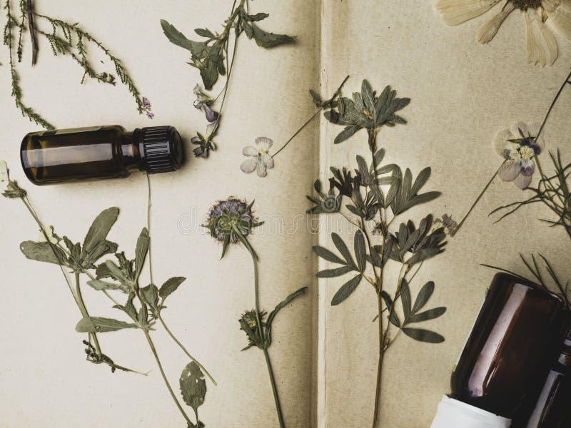 Flor do vintage no fundo do livro velho com óleos essenciais fotografia de stock royalty free