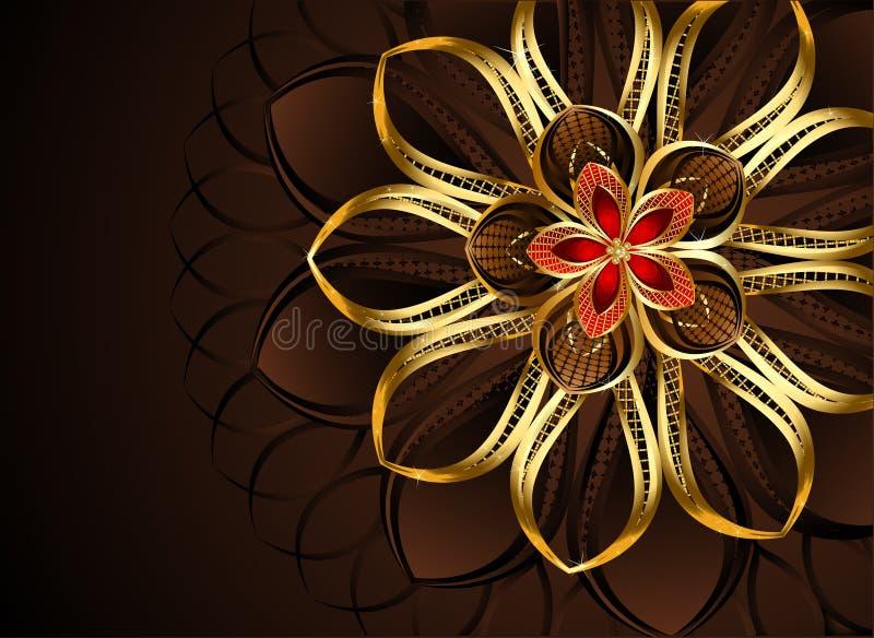 Flor dourada abstrata ilustração do vetor