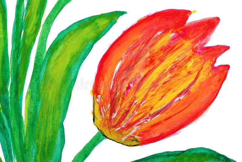 Flor drenada por las pinturas del color de agua stock de ilustración