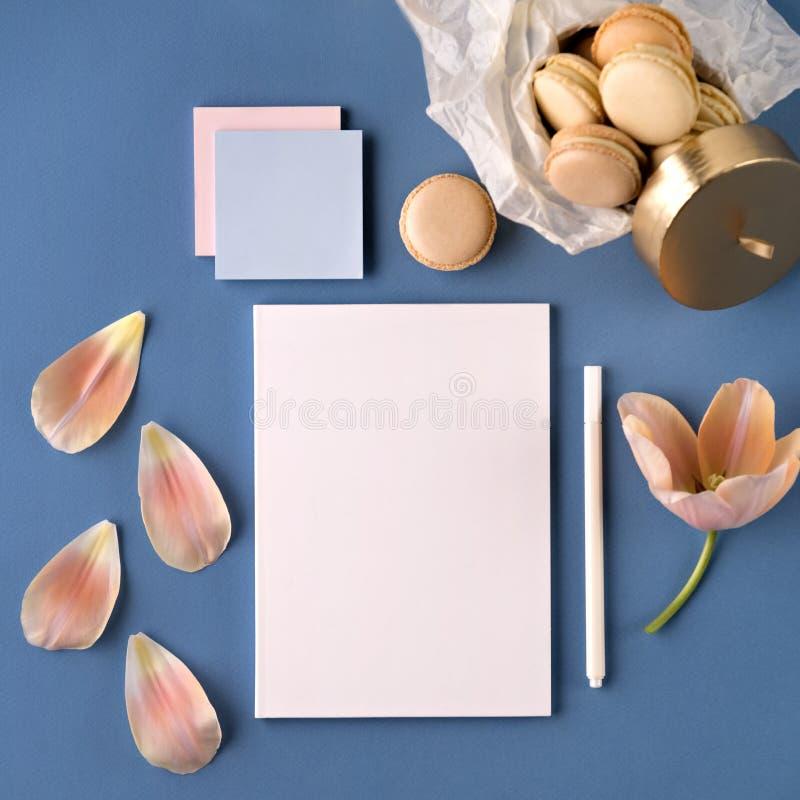 A flor e as cookies aproximam o papel e a pena foto de stock