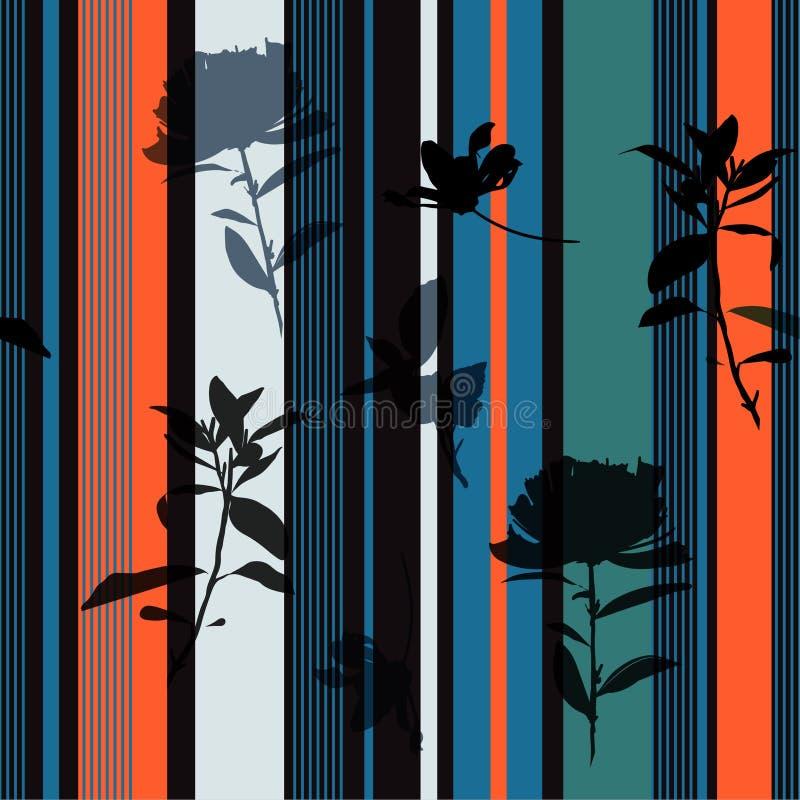 A flor e as folhas pretas tiradas sem emenda da silhueta da cópia da listra retro bonita do verão disponível modelam o projeto do ilustração stock