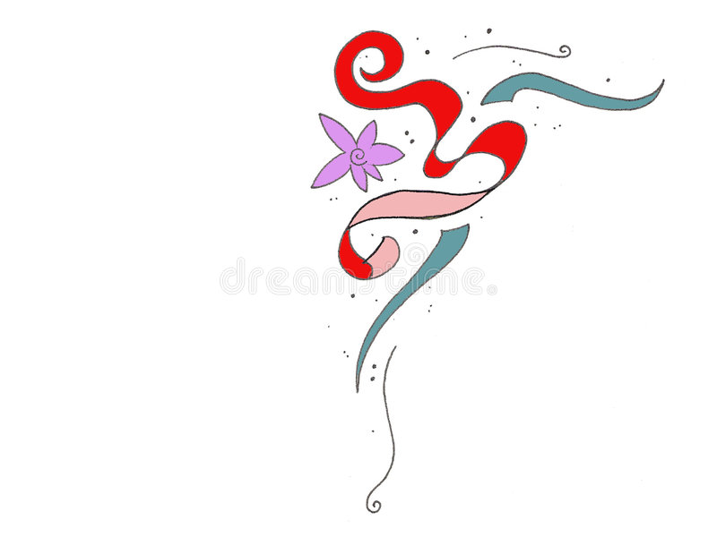 Flor e beira da fita ilustração royalty free
