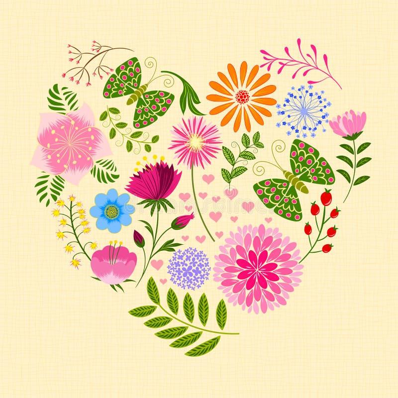 Flor e borboleta coloridas da primavera na forma do coração ilustração royalty free