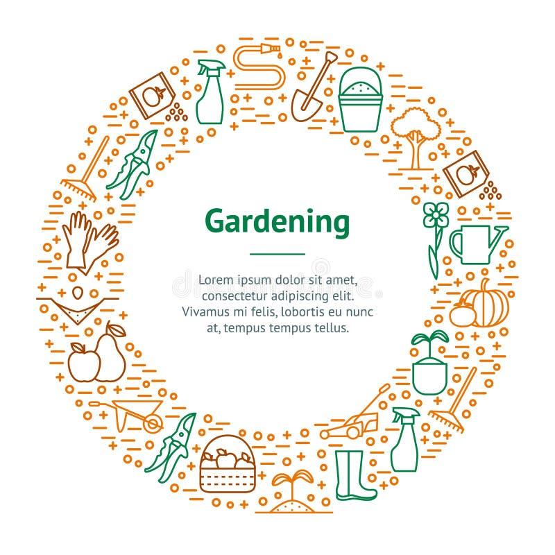 Flor e círculo de jardinagem do cartão da bandeira Vetor ilustração royalty free