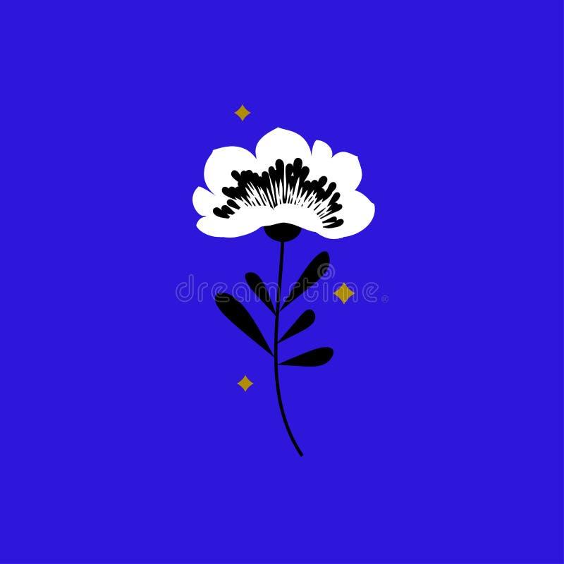 Flor e estrelas Elementos elegantes do projeto no fundo azul de néon ilustração royalty free