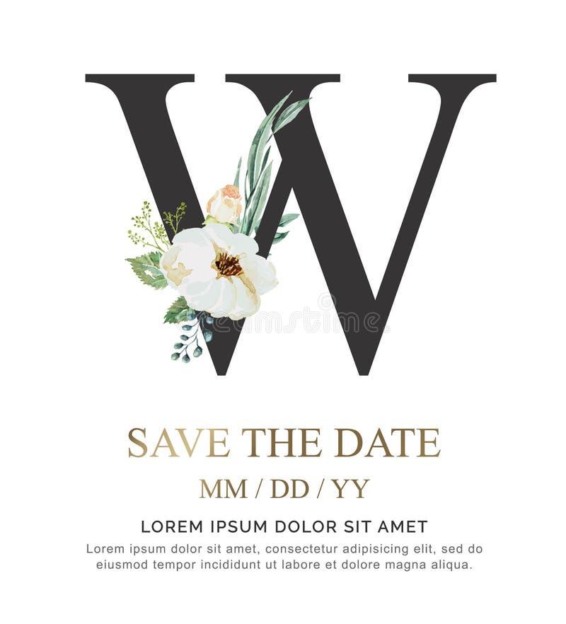 A flor e a folha da aquarela da pintura da mão de W da letra para o casamento e convidam cartões imagens de stock royalty free