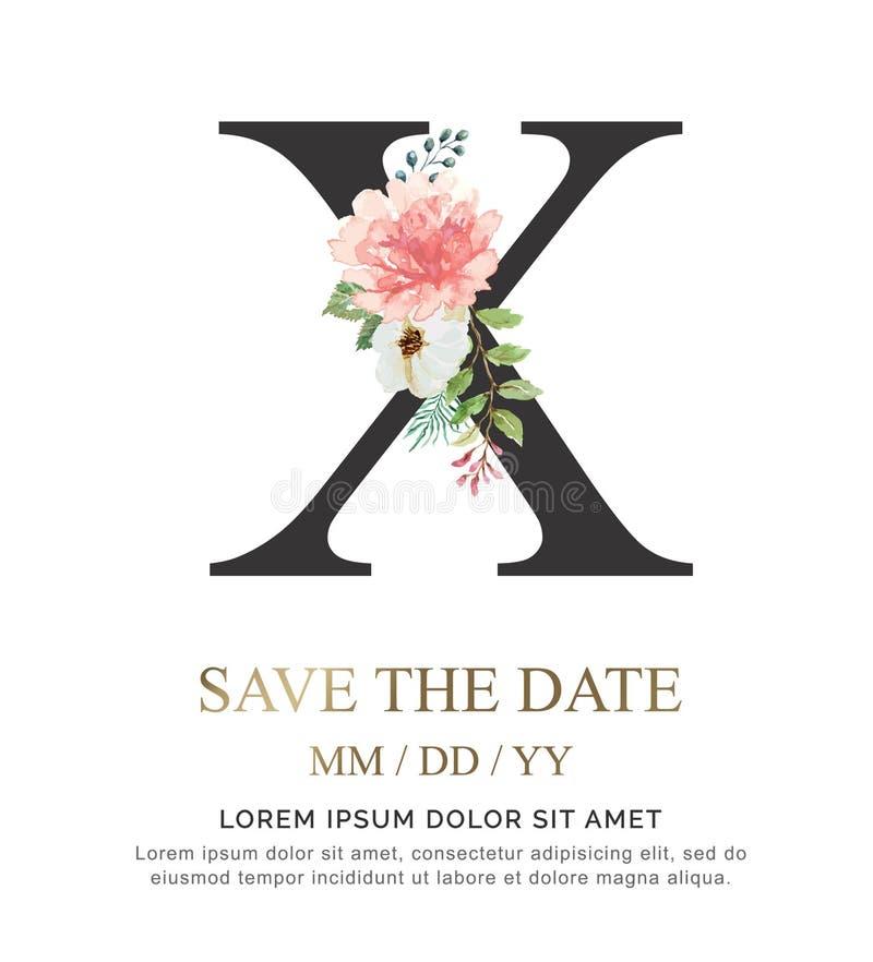 A flor e a folha da aquarela da pintura da mão da letra X para o casamento e convidam cartões foto de stock