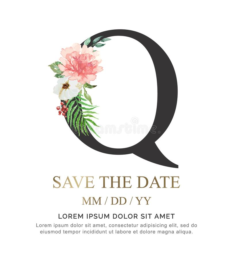 A flor e a folha da aquarela da pintura da mão da letra Q para o casamento e convidam cartões foto de stock royalty free