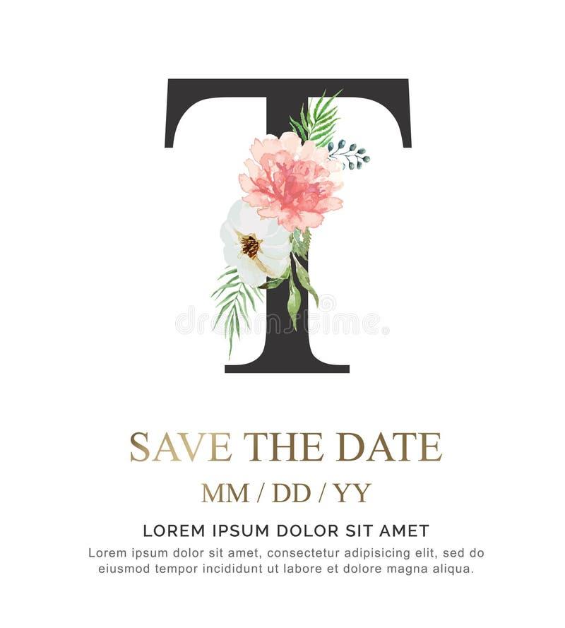 A flor e a folha da aquarela da pintura da mão da letra T para o casamento e convidam cartões foto de stock