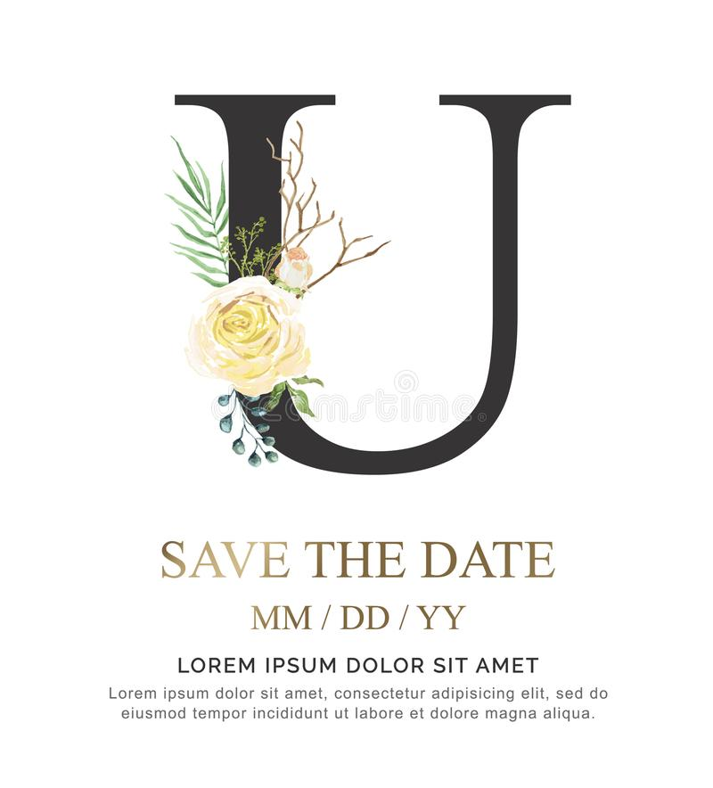 A flor e a folha da aquarela da pintura da mão da letra U para o casamento e convidam cartões fotografia de stock