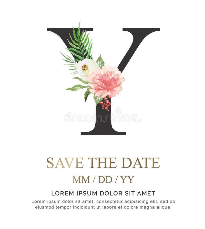 A flor e a folha da aquarela da pintura da mão da letra Y para o casamento e convidam cartões foto de stock