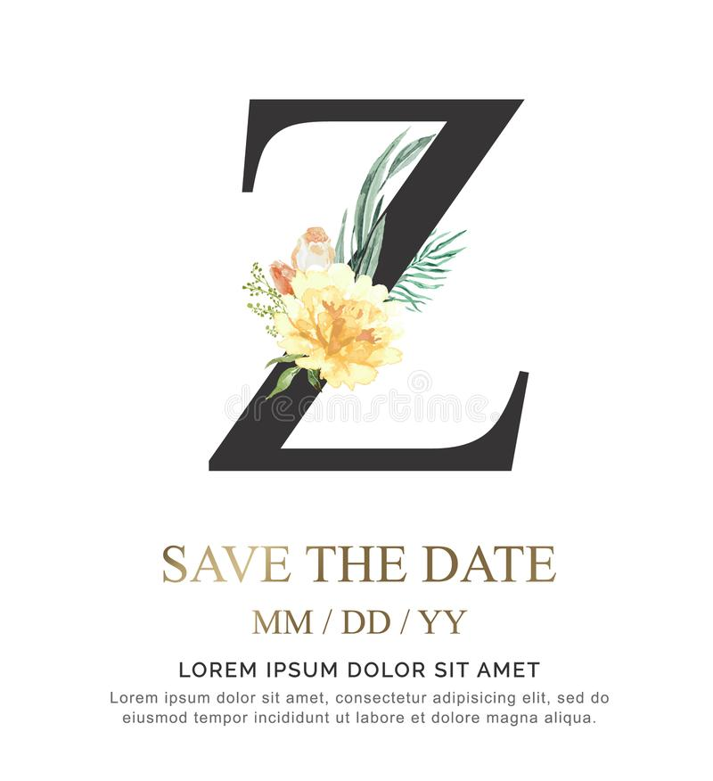 A flor e a folha da aquarela da pintura da mão da letra Z para o casamento e convidam cartões fotos de stock