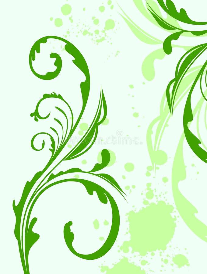 Flor e folha do grunge da mola da ilustração ilustração do vetor