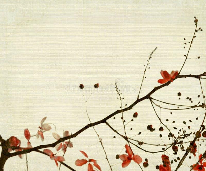 Flor e folha vermelhas no fundo de bambu ilustração stock