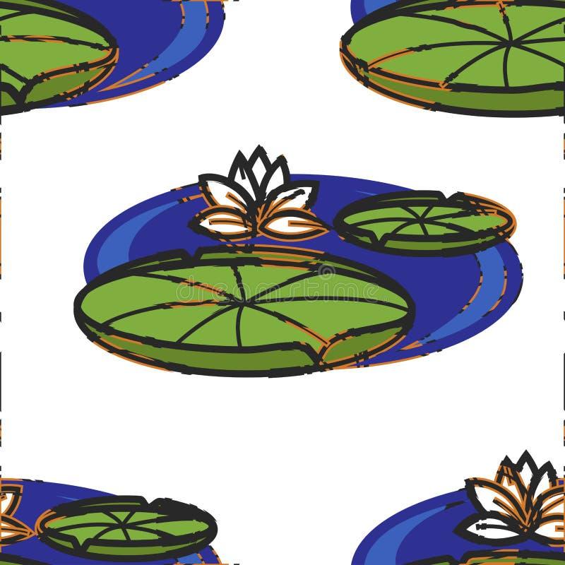 Flor e folhas de Lotus no teste padrão sem emenda oriental da água ilustração do vetor