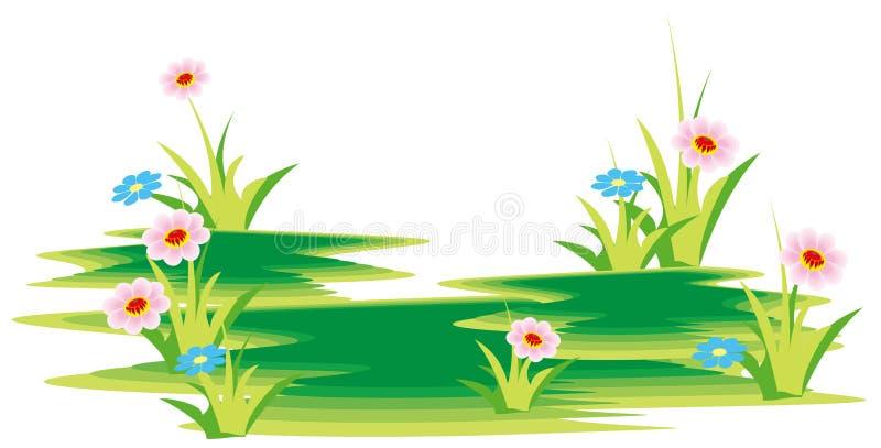 Flor e grama ilustração do vetor