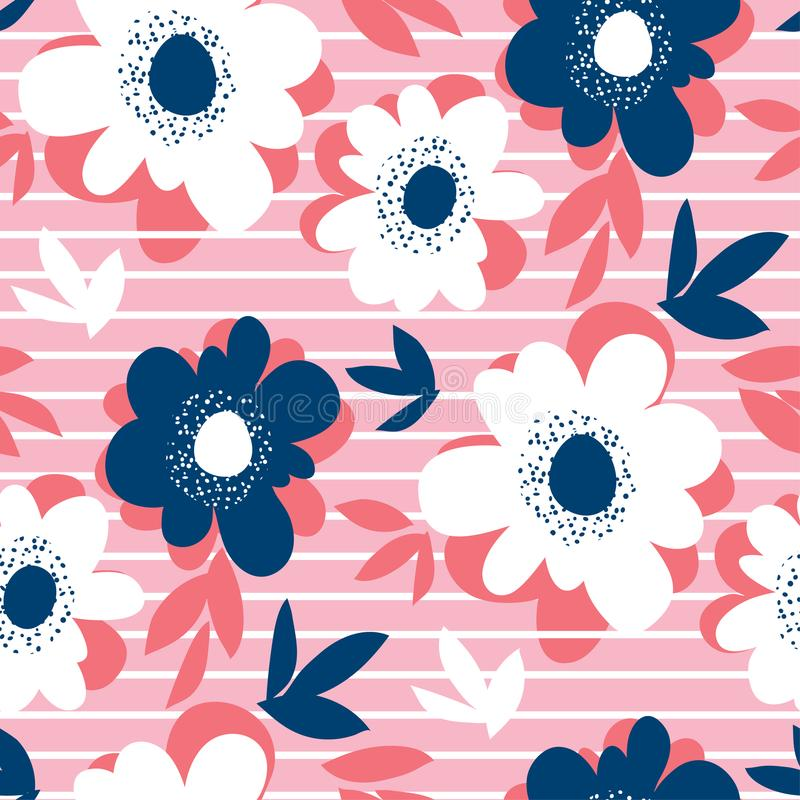 Flor e listras decorativas em cores do verão ilustração royalty free