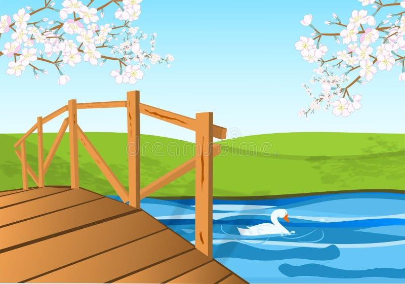 Flor e ponte de cereja ilustração do vetor