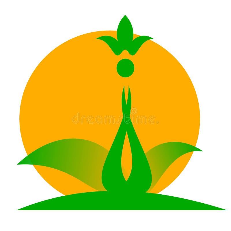 Flor e sol de tiragem do logotipo ilustração do vetor
