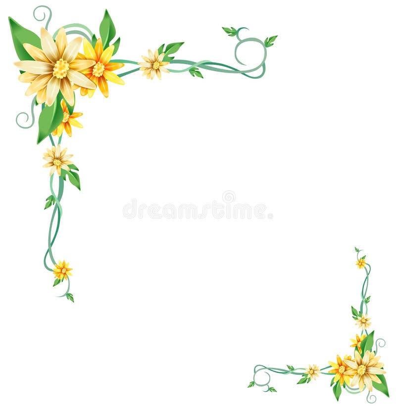 Flor e videiras amarelas ilustração do vetor