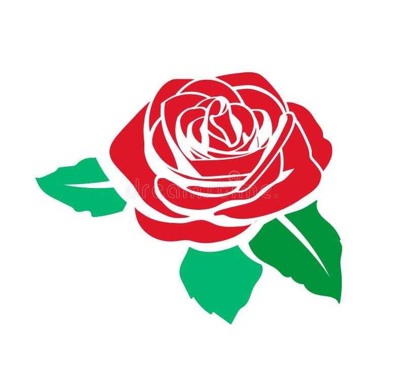 Flor em botão cor-de-rosa vermelha com a silhueta verde do ícone das folhas isolada no branco ilustração royalty free
