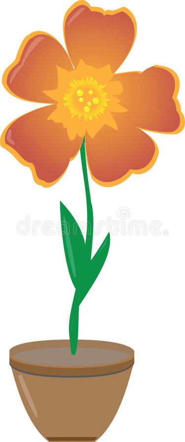 Flor em um potenciômetro ilustração stock
