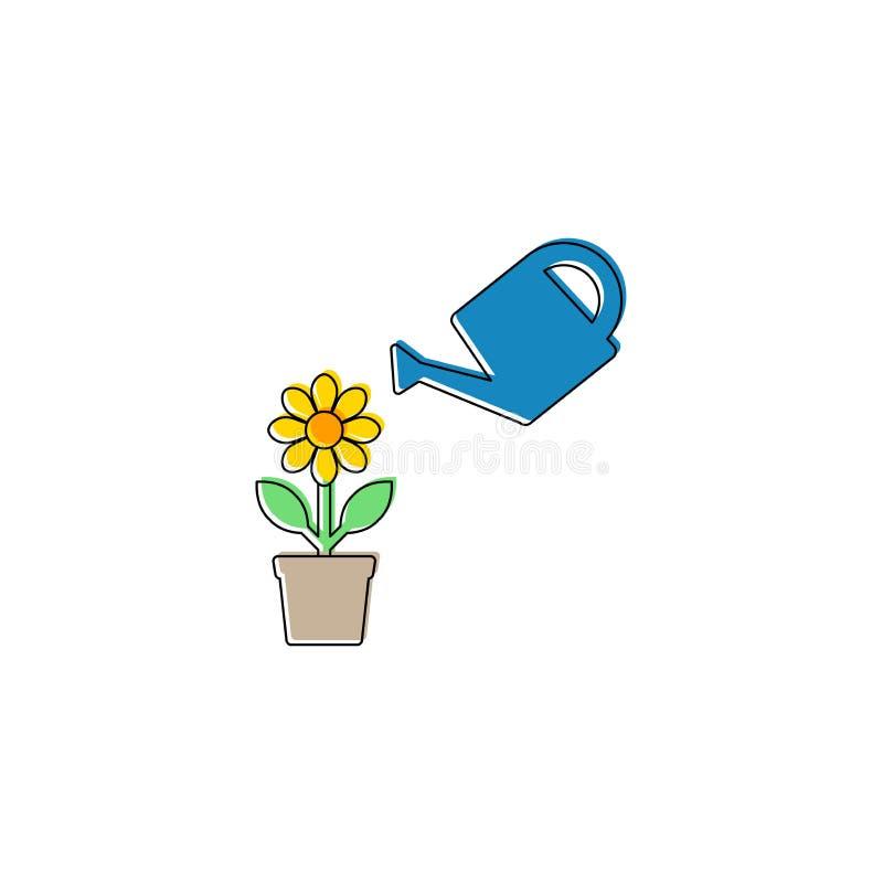 Flor em uma vagem com ícone simples dos desenhos animados da lata molhando Ícone do vetor do conceito do crescimento ilustração do vetor