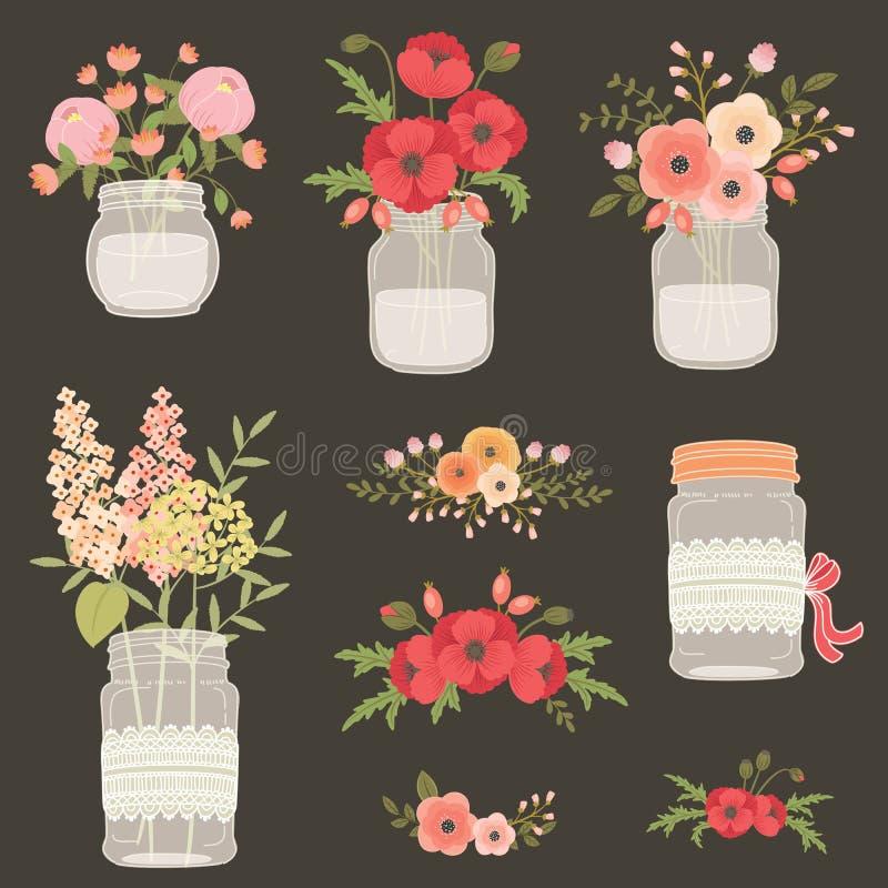 Flor em uns frascos de pedreiro ilustração stock