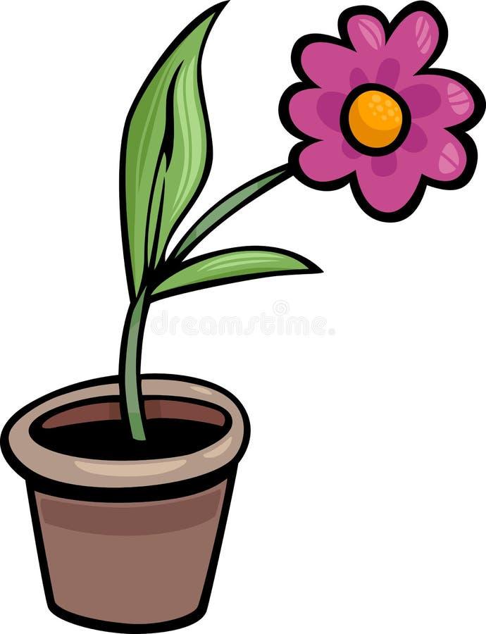 Flor en el ejemplo de la historieta del clip art del pote ilustración del vector