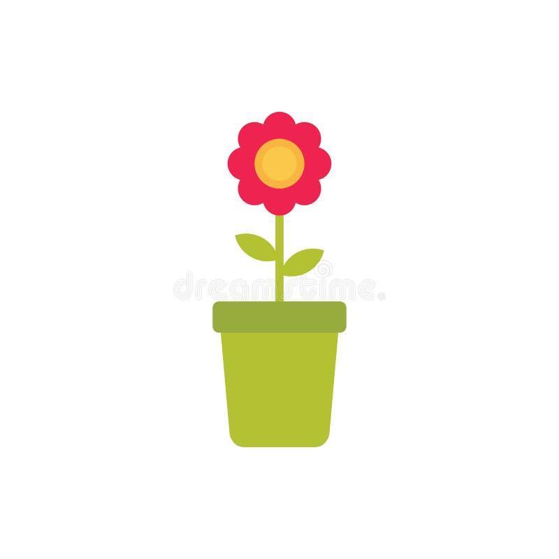 Flor en el ejemplo del vector de los potes aislado en el fondo blanco libre illustration