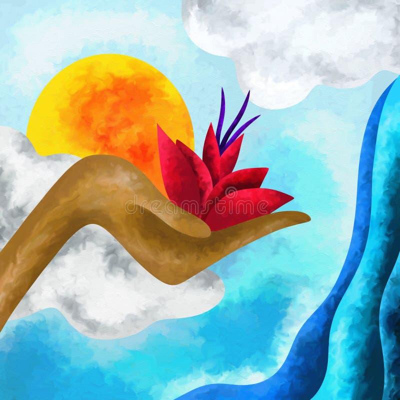 Flor en su mano libre illustration