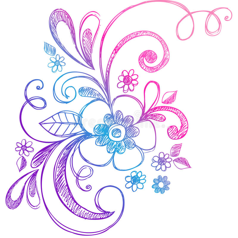 Flor esboçado do Doodle e vetor dos redemoinhos ilustração royalty free