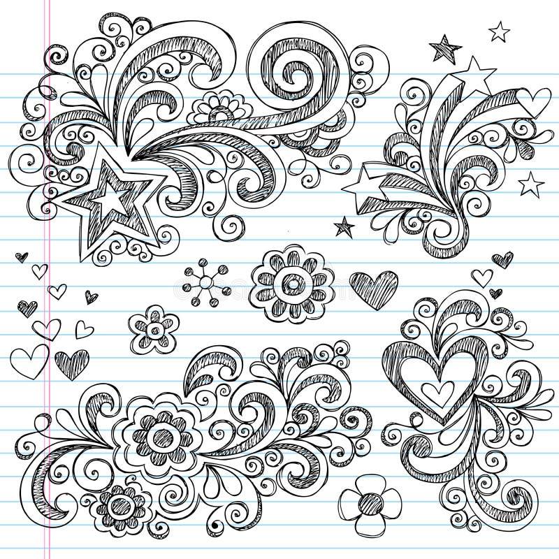 A flor esboçado Hand-Drawn e Stars Doodles ilustração royalty free