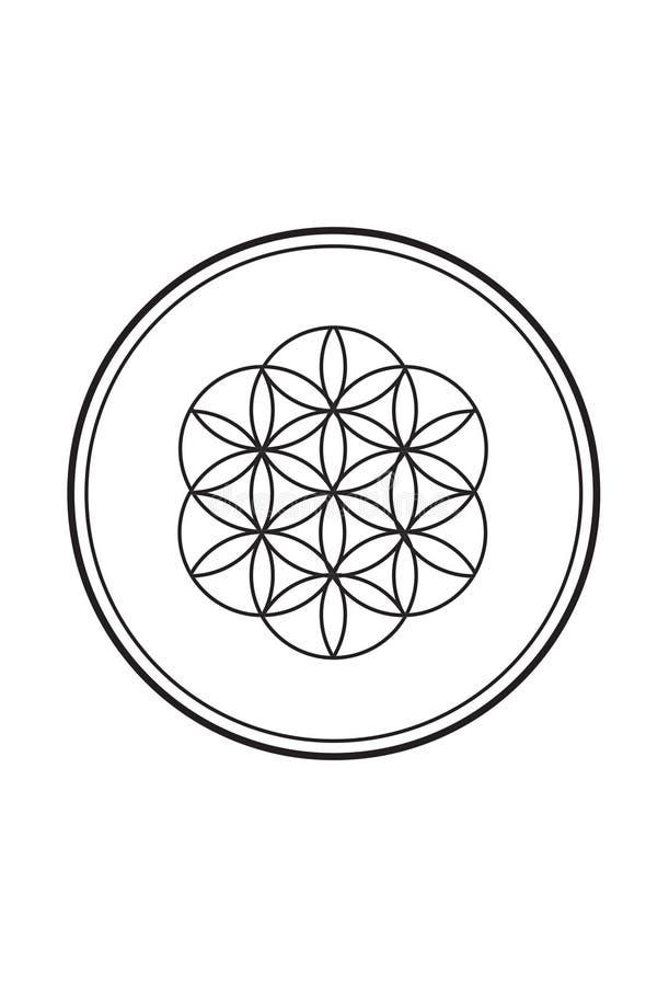 Flor espiritual simples da ilustração preto e branco 2 da vida ilustração royalty free