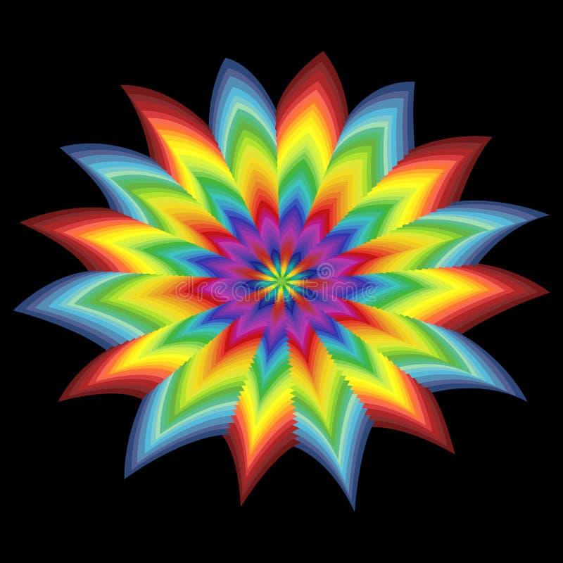 Flor estilizada del espectro sobre negro stock de ilustración