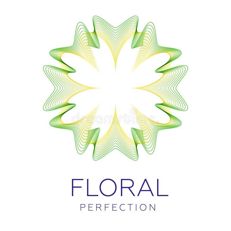 A flor fantástica, forma abstrata com lotes da mistura alinha ilustração stock