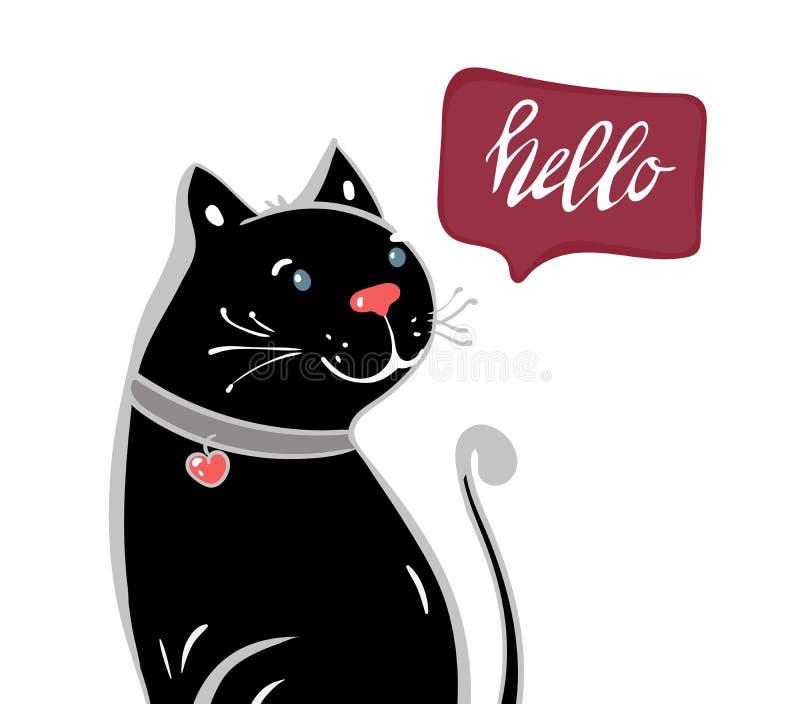 Flor feliz linda de la tenencia del carácter del gato negro con poner letras al texto de la caligrafía Mano dibujada, ejemplo rom ilustración del vector