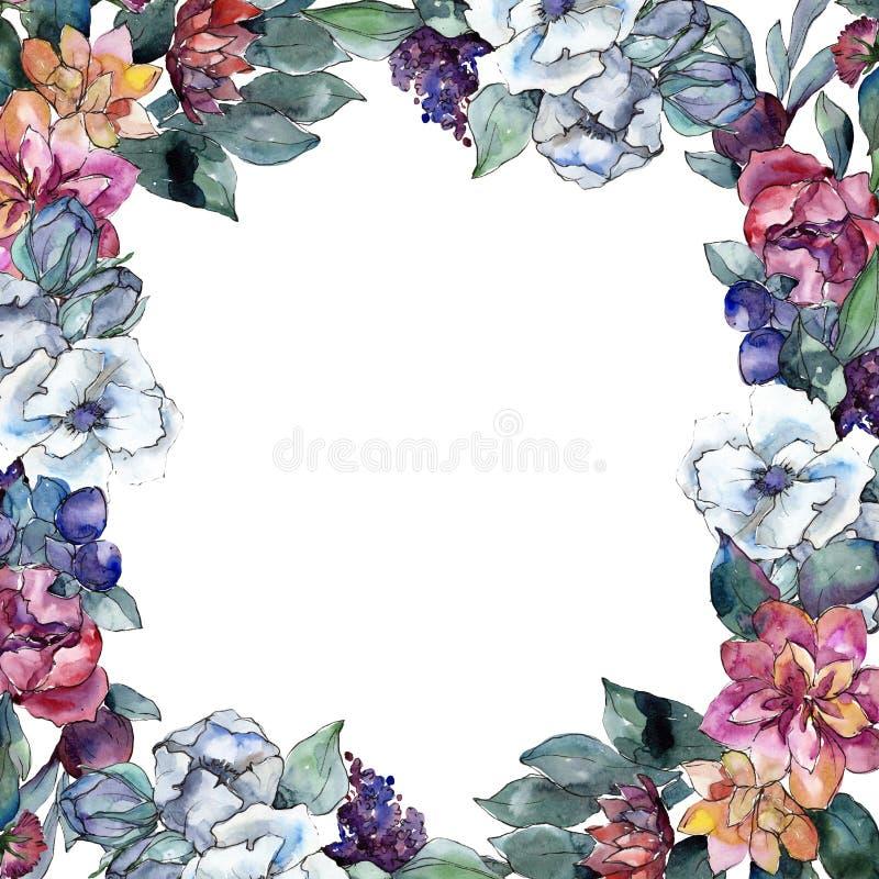 Flor floral do ramalhete Grupo da ilustração do fundo da aquarela desenho do watercolour Quadrado do ornamento da beira do quadro ilustração royalty free