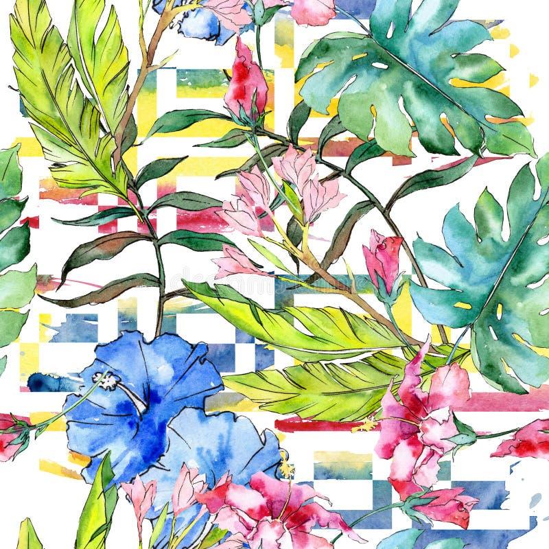 Flor floral havaiana tropical exótica do azul e do rosa Grupo da ilustração da aquarela Teste padrão sem emenda do fundo ilustração stock