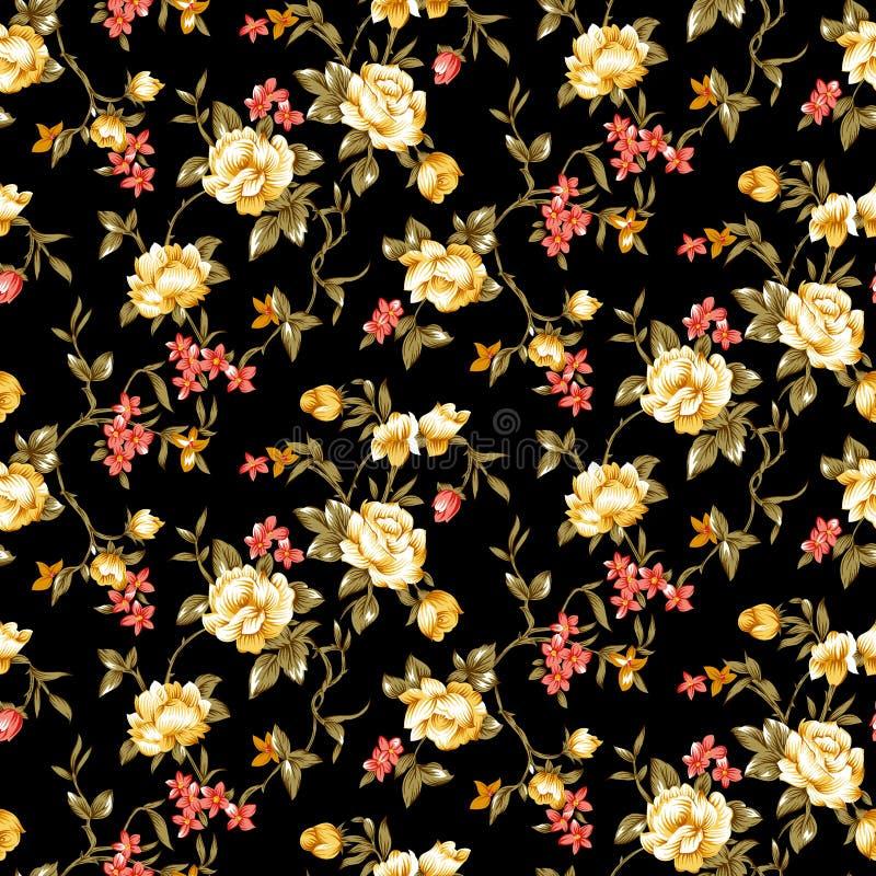 Flor floral inconsútil con el fondo negro ilustración del vector