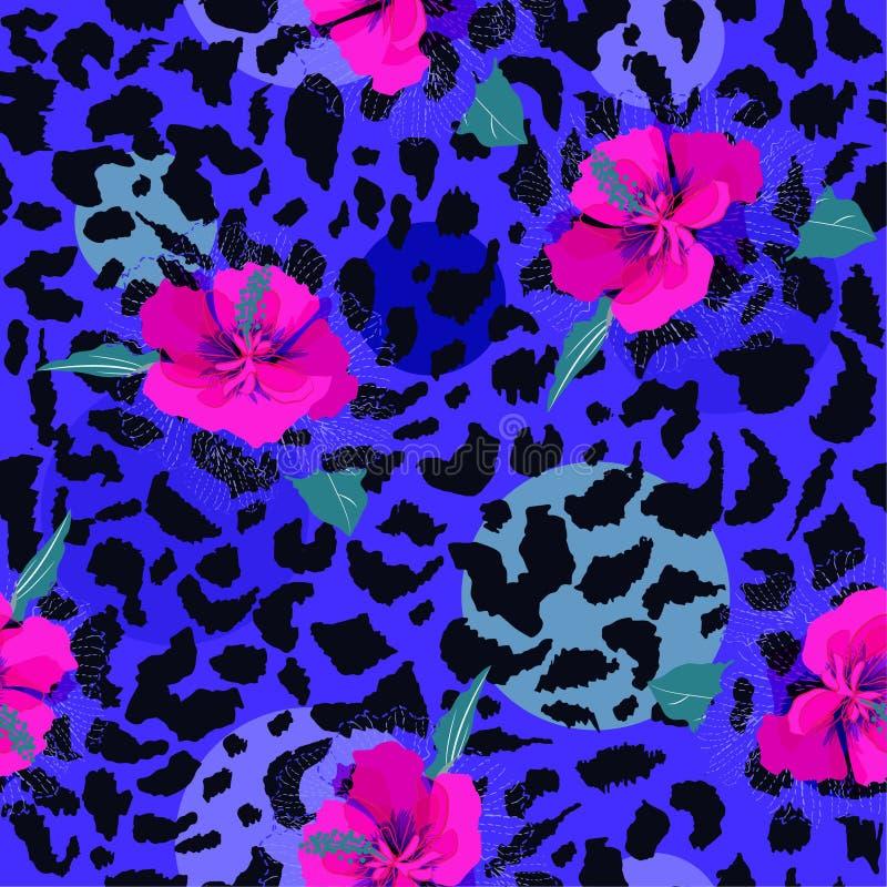 Flor floreciente rosada colorida en el mar de los estampados leopardo de la piel animal stock de ilustración